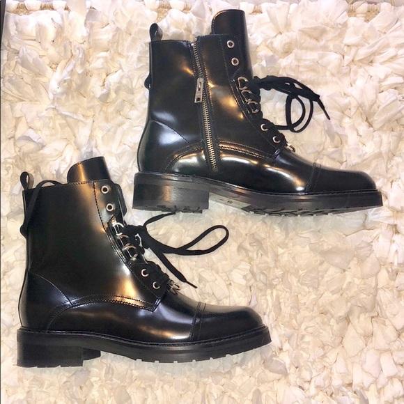 All Saints Black Lira Laceup Boots Size